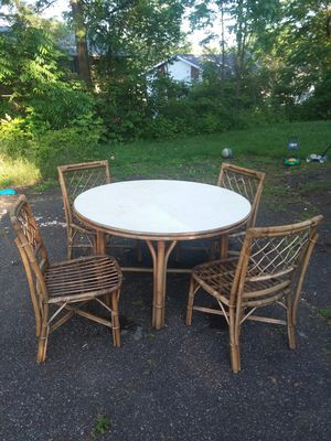 Wicker chairs and table very study. for Sale in Endicott, NY