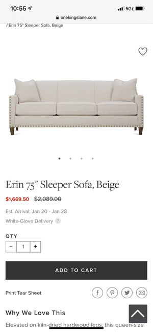 Studded beige sofa sleeper for Sale in Miami, FL
