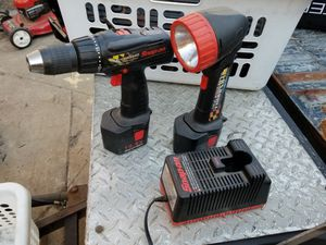 Snap On drill, flashlight, 2 batteries and charger for Sale in Haverhill, MA