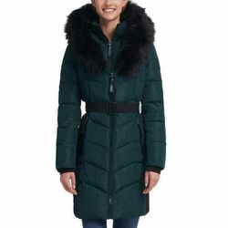Calvin Klein Faux Fur-trim Belted Parka Coat Large Green Emerald for Sale in Los Angeles,  CA