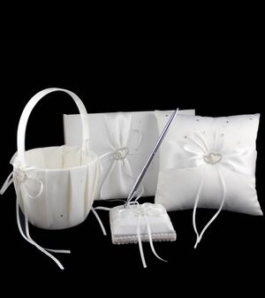 New wedding guest book basket pillow pen set for Sale in San Diego, CA