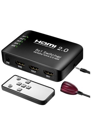 HDMI 2.0 Switch HDMI Switcher 5 Port with IR Remote Control Supports HDR & HDCP 2.2 4k@60Hz 3D HD 1080P for PS4 Xbox one Apple TV Blue Ray Player Lap for Sale in Houston, TX