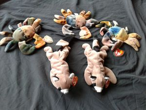Beanie babies 3 Claude the crab and 2 ringo the raccoon. for Sale in Naperville, IL