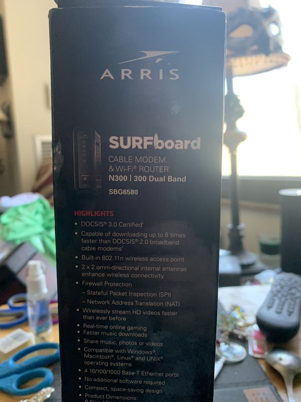 Aris surfboard cable modem and Wi-Fi router