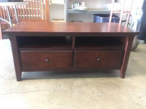 "55"" TV Stand with 2 large drawers. Somes nicks, scuffs, scratches but solid and sturdy with smooth sliding drawers. 48""L x 21""D x 21""T for Sale in Las Vegas, NV"