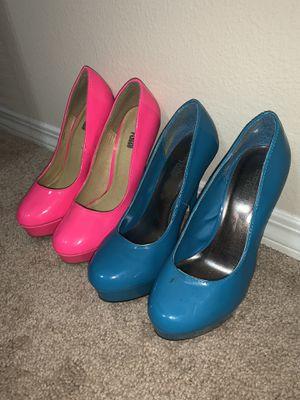 Hot Pink & Blue High heels stilettos Size 7 for Sale in Austin, TX