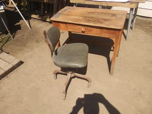 OLD WOOD DESK & CHAIR for Sale in Visalia, CA