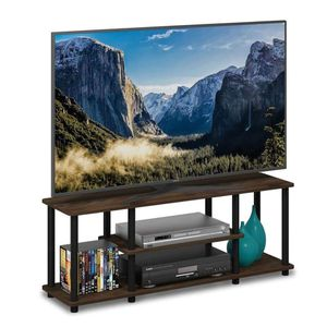 3-tier Entertainment TV Stand - square tube - columbia walnut/black for Sale in Fort Worth, TX
