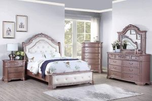 ANTIQUE ROSE GOLD QUEEN SIZE BEDROOM 4 PIECE SET BED NIGHT STAND MIRROR DRESSER / RECAMARA BURO ESPEJO TOCADOR for Sale in Pico Rivera, CA