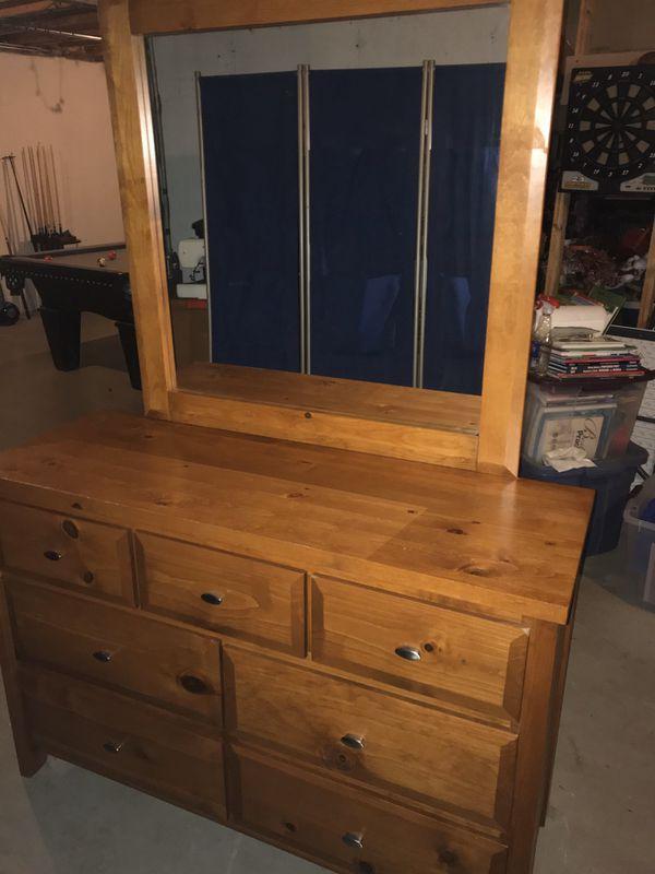 Solid Wood Full Bed Frame and Dresser/Vanity