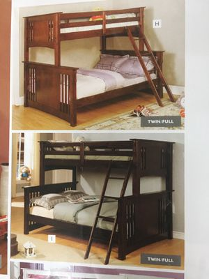 Twin full bunk bed solid wood no mattress new for Sale in Long Beach, CA