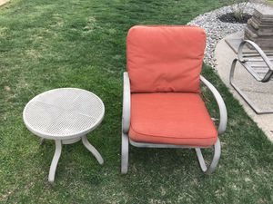 Outdoor furniture. 4 chairs with cushions and two tables as shown in picture. for Sale in Oxford, PA