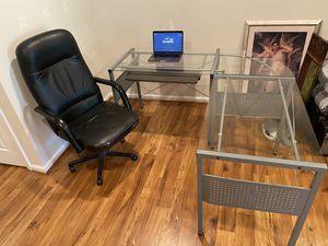 "Desk - ""L"" Shape, Metal & Glass (+ bonus chair!) for Sale in Alexandria, VA"