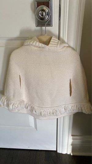 Size 4y ivory knit teddy bear poncho/cape/sweater for Sale in Chicago, IL