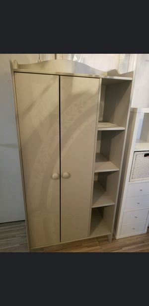 Grey closet with cubbies/bookshelves and White Cubby with 4 drawers and basket! for Sale in The Bronx, NY