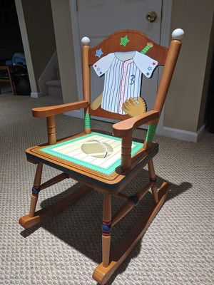 Sports theme wooden kids rocking chair for Sale in Jackson, NJ