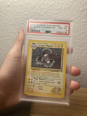 PSA 8 LT. Surges Magneton Holo from gym hero's Wizards Of The Coast Pokemon Card for Sale in Minneola, FL