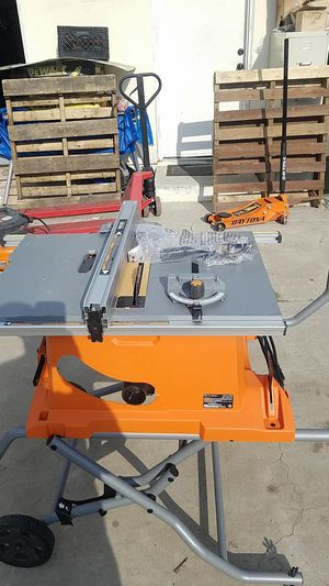 Ridgid 10-inch table saw Pro job site with rolling stand 15 amp model R 4513 number r - 0 for Sale in Glendora, CA