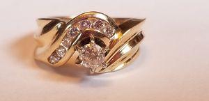 Stunning 14K yellow gold custom .55CTW genuine diamond ring size 6 for Sale in Lake Stevens, WA