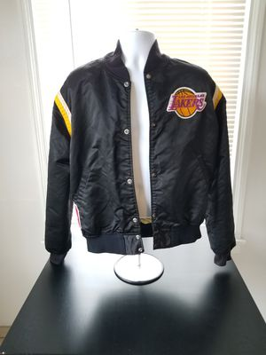 Vintage 1980s 1990s Black Satin Starter Lors Angeles Lakers Jacket Size L Large Fits Smaller for Sale in Los Angeles, CA