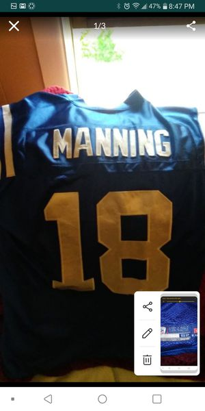 Payton Manning throw back. Reebok. Authentic. Size 52 for Sale in Sunbury, OH