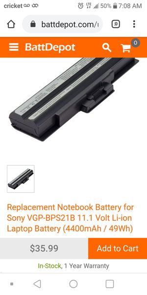 Replacement Notebook Battery for Sony VGP-BPS21B 11.1 Volt Li-ion Laptop Battery (4400mAh / 49Wh) for Sale in San Antonio, TX