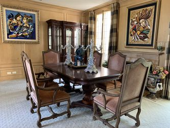 Rustic high end antique dining table, display cabinet, & chairs (expandable) for Sale in Beverly Hills,  CA
