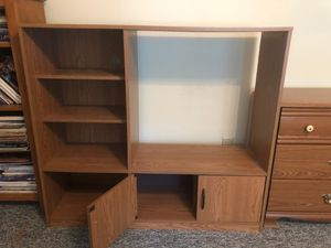 Entertainment book shelf brown wood like small for Sale in Chesapeake, VA