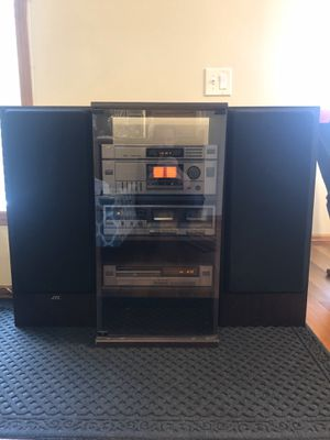 "Vintage 1992 JVC Stereo System w/console, CD Player, Dual Cassette Player, AM/FM Stereo Receiver w/Remote! 2-36"" Tower Speakers Included!! Excellent for Sale in Northville, MI"