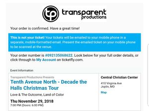 Tenth Avenue North - Decade the Halls Christmas Tour Tickets for Sale in Joplin, MO
