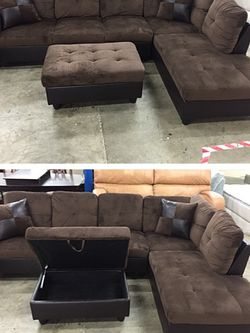 Brown Microfiber Sectional Couch And Ottoman for Sale in Bellevue,  WA