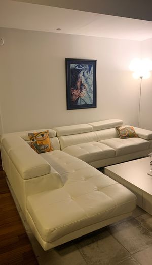 Faux Leather White Couch for Sale in New York, NY