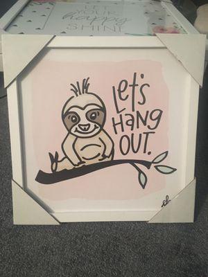 Sloth decor framed 13x13in. for Sale in New Brunswick, NJ