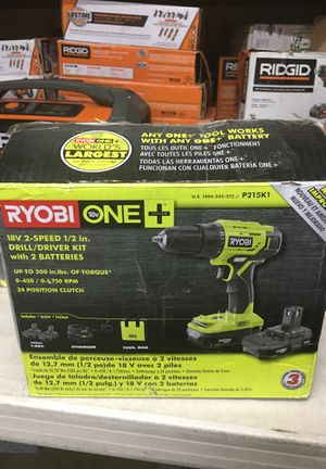 RYOBI 18-Volt ONE+ Lithium-Ion Cordless 1/2 in. Drill/Driver Kit with (2) 1.5 Ah Batteries, Charger, and Bag for Sale in Fontana, CA