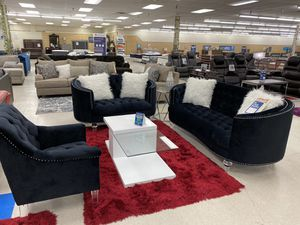 Brand new black fabric sofa, loveseat and chair only $39 down for Sale in Dallas, TX