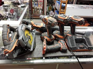 RIDGID 18-Volt Lithium-Ion Cordless Brushless with 6 Tool Combo Kit with 3 Battery, 18-Volt Charger, and Bag Drill Driver. for Sale in Fort Myers, FL