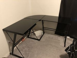 L Shaped Black Glass Desk for Sale in Las Vegas, NV