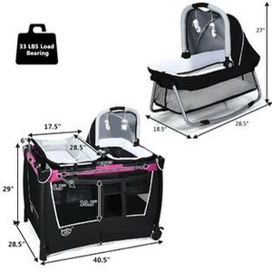 BabyJoy 4 in 1 Convertible Portable Baby Playard Newborn Napper w/ Toys & Music Center Newbb0480ro for Sale in Irvine, CA