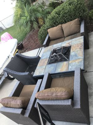 Wicker patio furniture and fire pit for Sale in San Diego, CA