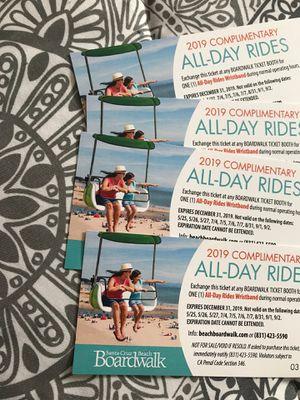 4 tickets to Santa Cruz!!!! Expires 12/31/19 for Sale in Sacramento, CA