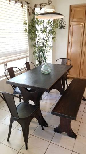 Rustic wooden dining table w 4 farm house style metal chairs and bench/kitchen dining room set for Sale in Chino Hills, CA