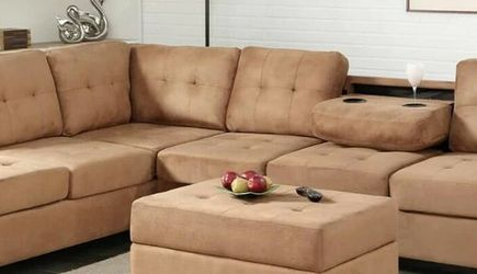 Heights Taupe Reversible Sectional with Storage Ottoman VENDORHAPPY HOMES for Sale in Houston,  TX