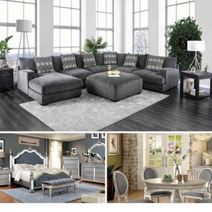 $6,499 3 ROOMS GRAY PKG 4- PIECES QUEEN BEDROOM SET INCLUDED QUEEN BED FRAME DRESSER MIRROR AND ONE NIGHT STAND 1- SECTIONAL 1- Ottoman 5- PCS R for Sale in Montclair, CA