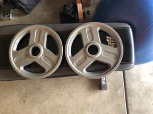 (2) - 25 lb Weider Olympic Weights for Sale in Ceres, CA