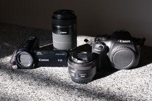 Canon Camera Bundle: Canon Rebel T5, Canon Vixia HF R600 camcorder , batteries and lenses. for Sale in New Britain, CT