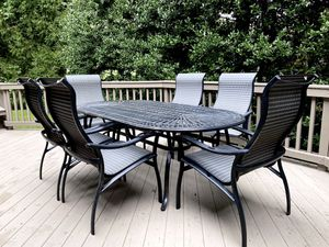 SEE PRICES! Glass Table, Outdoor furniture patio, couch, chair, clock, night stand for Sale in Great Falls, VA