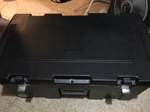 (Sterilite) padlock storage chest container with wheels for Sale in Chicago, IL