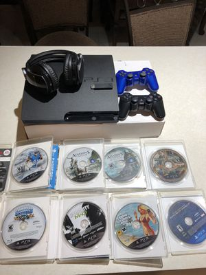 PS3 game counsel w/2 controls ,games and Sony headphone for Sale in Orland Park, IL