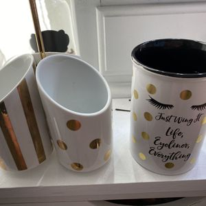 2 - Glass Make Up Brush Holders for Sale in Fort Worth, TX