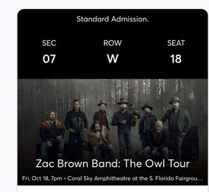 Zac Brown tickets 10/18 for Sale in Lake Worth, FL